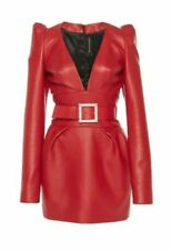 Women Real Soft Leather Dress Red Leather Short Mini Bodycon Belted Dress