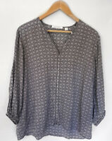 TRENERY Divine Navy Striped Polka Dot Print 3/4 Sleeve Blouse Top Size XL
