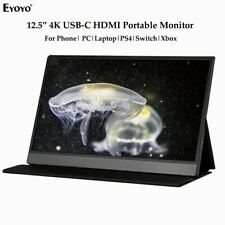 Eyoyo 12.5 Inch 3840x2160 4K Monitor USB-C Second Screen For Phone PS4 Computer