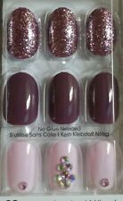 KISS imPress Press-On Nails Gel Manicure 30 Short Almond Tip- Pink Mauve Jewel