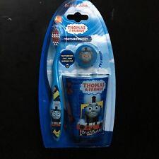BRUSH BUDDIES 3pc THOMAS & FRIENDS Cap+Rinsing Cup TOOTHBRUSH SET Soft BLUE New!