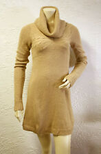 $198 BCBG CAMEL (OVD6C543) COWL NECK CABLE RIB KNIT SWEATER DRESS NW0T M