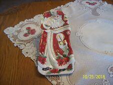 Fitz & Floyd Poinsettia Vintage Santa Porcelain China Elongated Serving Platter