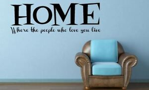 Home, where the people who Love you live. Quote Vinyl wall art Decal Sticker