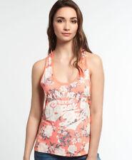Womens Superdry Romance Floral Burnout Vest Top Coral Mono Rose L