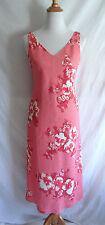 Jones New York Linen Blend Pink Tropical Flower Hawaiian Hibiscus Dress Size 8