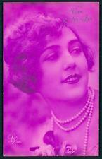 Art Deco 1920s original vintage photo postcard romance lady pearls pink flapper