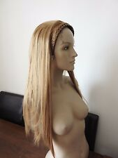 dark blonde straight half head long hair wig on headband fancy dress new