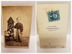 RARE 1864 George Washington 2 Cent Tax Stamp Blue CDV Cabinet Photograph