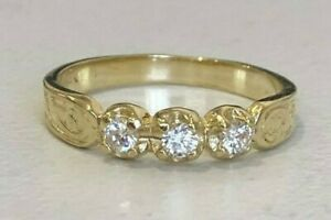 14k solid yellow gold & white stone band ring 1.99g size L 1/4 -  5 3/4