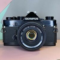 Olympus OM 1 (Black Body) 35mm SLR Film Camera with 50mm F/1.8 Lens Lomo