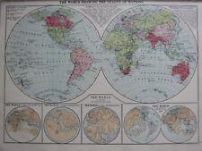 1930 MAP ~ WORLD SHOWING LEAGUE OF NATIONS ~ EDRISH FRAMURO BEHAIM PTOLEMY