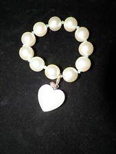 TARINA TARANTINO CHUNKY PEARL  STRETCH BRACELET WHITE HEART UNUSED