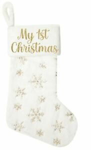 my 1st Christmas stocking, Large, gold glitter, gift, fluffy, strong, décor