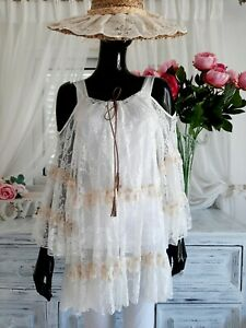 MY STORY PARIS Cream Lace Dress/Tunic - One Size - Was £98.00 NOW £18.00