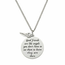 Good Friends Are Like Angels.… Disc and Angel Wing Friendship Pendant Necklace
