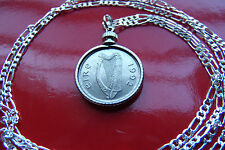 "IRELAND Gaelic Lucky Harp & Bull Pendant on 30"" 925 Sterling Silver Chain"