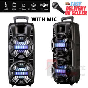"Wireless Bluetooth Stereo Bass Trolley Speaker 8"" dual with Mic FM Radio Lights"