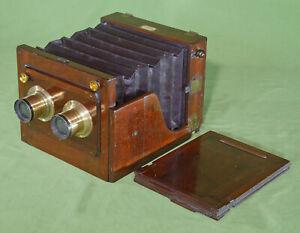 Rare Watson & Sons Stereo Whole Plate Tailboard Mahogany Brass Camera c. 1880