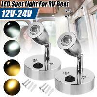 12-24V LED Reading Spot Light Bedside Wall Lamp Boat RV Van Caravan Motorhome