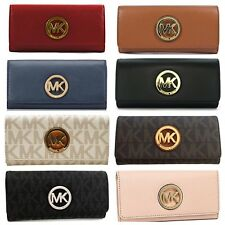 Michael Kors MK Fulton Flap Continental Wallet Clutch Signature Or Leather New