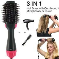 3-In-1One Step New Air Hair Negative Lon Straighten Curl Dryer Comb Blower Brush