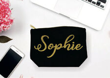 LARGE PERSONALISED MAKE UP BAG CUSTOM ANY NAME IN GLITTER WITH GOLD ZIPPER