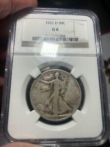 1921-D Walking Liberty Half Dollar NGC G 6.  Better Example for Grade.  Nice.