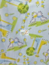 ANIMAL PRINT POLAR FLEECE FABRIC - Zebra And Giraffes Baby Blue - BTY 911