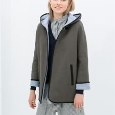 ZARA Size Small Hooded Cape Buckle Long Sleeve Jacket Leather Trim