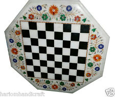 Size 1'x1' Marble Side Coffee Chess Table Top Inlaid Marquetry Patio Decor H965