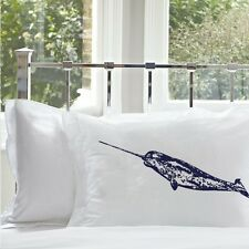 Two Navy Blue Narwhal pillowcases hand printed nautical decor pillow cover Set