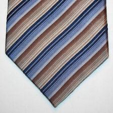 NEW Joseph & Feiss Silk Neck Tie Dark Light Blue and Beige Stripes 828