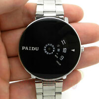 Fashion Mens Silver Black Quartz Wrist Watch Turntable Dial Boy Hours Gift Q0844