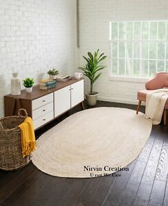 Rug Jute Carpet White Oval Reversible Natural Jute Braided Modern Rustic Look