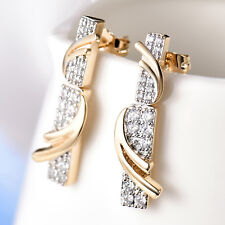 Golden Dangle Stripes Pave Crystal Rhinestone Gold Filled Women Stud Earring BOX