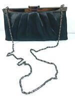 Gunne Sax Black Satin Clutch Purse Chain Strap