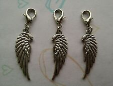3 X Silver Plated Large Angel Wing Clip on Charms
