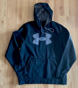 Under Armour Storm Loose Mens L Black Hoodie Big Logo Sweatshirt Embroidered EUC