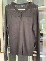 Eddie Bauer Women's Medium Gray Cardigan Sweater