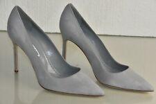 NEW Manolo Blahnik BB 105 Suede Grey Pumps Heels Pointed Toe Shoes 42