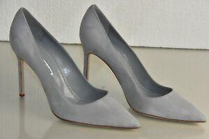 $695 NEW Manolo Blahnik BB 105 Suede Grey Pumps Heels Pointed Toe Shoes 42