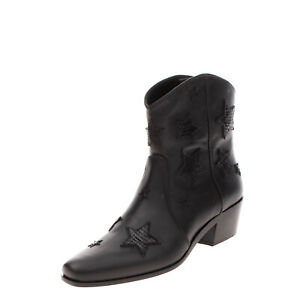 RRP €1040 MIU MIU Leather Western Boots Size 38.5 UK 5.5 US 8.5 Star Patches