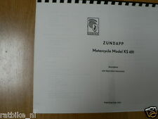 Z0027 ZUNDAPP---OPERATION INSTRUCTIONS MODEL KS 601---