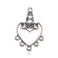 10pcs Tibetan Alloy Filigree Heart Chandeliers Connectors Earring Findings 30mm