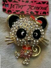 Betsey Johnson Bling Cute Bowknot Cat Pendant Sweater Chain Animal Necklace