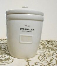 Starbucks 64 oz 2002 Abbey Barista White Coffee Tea Canister Storage Cookie Jar