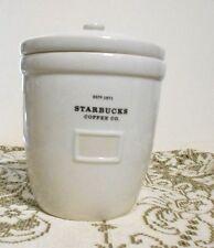 Starbucks 64 oz 2002 Abbey Barista White Coffee Tea Canister Storage Cookie Jar