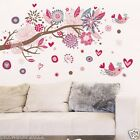 600*900mm Pink Flower Tree Branch & Bird Removable Wall Sticker Kids Girls Room