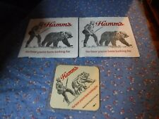 NOS  Hamm's the beer you've been looking for  Man Bear Coaster 3 Napkins